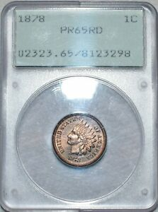 PCGS OGH PF-65 RD 1878 Indian Head Cent, Radiant, Full-Red, Gem Proof!