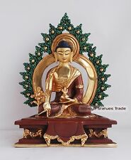 "7"" Medicine Buddha Gold Gilded with Face Painted Copper Statue from Patan, Nepal"