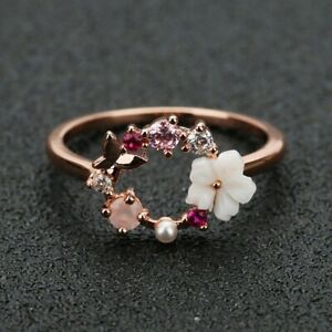 Fashion Creative Butterfly Flowers Rose Gold Zircon Finger Christmas Ring Size 8