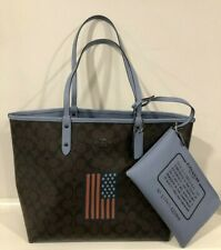 COACH Reversible City Tote Brown Signature C With Flag & Wristlet F25949 $375