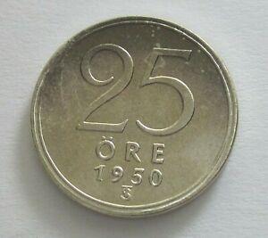Sweden Silver 25 Ore,  1950, KM 816