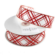 Candy Cane Christmas Ribbon Wired Edge, Red/White, 1-1/2-Inch, 20-Yard