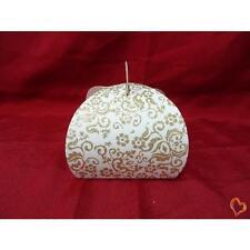 Boite à gâteau mariage ou baptême blanc/doré petite taille x25