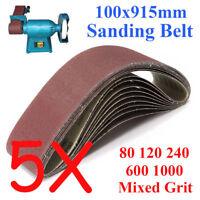 5PCS 100x915mm 914 Sanding Belt 80 120 240 600 1000 Mixed Grit For Wood Grinding