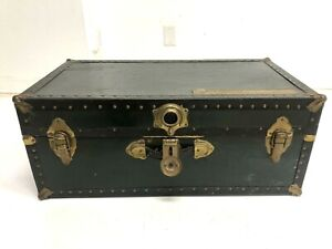 Vintage BLACK STEAMER TRUNK w Insert Tray chest coffee table storage box rustic