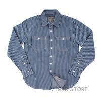 Vintage Striped Work Shirts For Men Fall Casual Railroad Retro Worker Shirt L XL