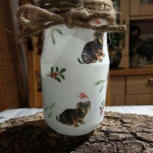 "Hand Decoupaged Rustic Dog Treats Jar / Flower Vase ""Christmas Daschund"" Dogs"
