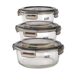 KUHN RIKON VK7001 Round Airtight Food Storage Box Set | 3 Piece | 0.4/0.6/0.9 L