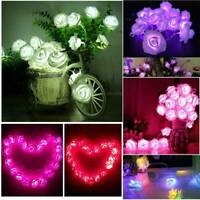 20LED Rose Flower Christmas Decor Fairy Wedding Garden Party Xmas String Lights