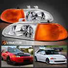 For 1992-1995 Honda Civic Sedan Clear Headlightsamber Corner Signal Lamps Pair