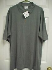 COZIA Men's Solid Gray Bamboo Cotton Short Sleeve Golf Polo Shirt L New Tag
