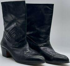VINTAGE MENS PIERRE CARDIN LEATHER BLACK BOOTS NO ZIPPER Size 9.5