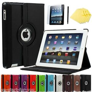 360° Apple IPAD 4 & 3 & 2 Protective Case+Film Cover Smart Case Faux Leather