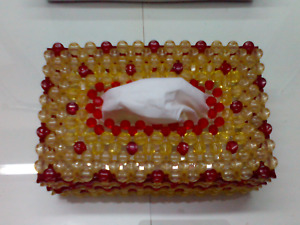 Crystal Beads Napkin Box Handmade Red And Gold Container Tissue Holder Kleenex