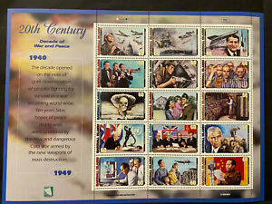 20TH CENTURY SHEET 15 stamps 1950-59, MARSHALL ISLANDS 1999 Postage $0.60 MNH