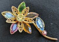 Colett Open Back Prong Set Faceted Pastel Glass Flower Gold Tone Pin Brooch