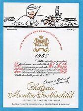 PAUILLAC 1EGCC ETIQUETTE CHATEAU MOUTON ROTHSCHILD 1955 73 CL DECOREE §15/02/17§