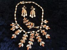 Vintage Mitchel Maer for Christian Dior Demi Parure Necklace, Earrings & Brooch