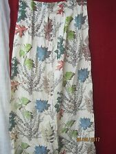 Vintage Barkcloth Curtain Panel red blue green maple leaves