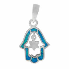 RHODIUM PLATED ON STERLING SILVER 925 HAMSA STONE PENDANT NECKLACE