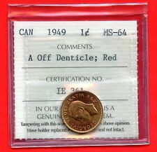 """1949 Canada 1 Cent Coin ICCS Graded MS64 # IE 361 """" A Off Dentical : Red """""""