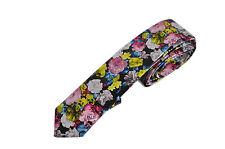 Men Skinny Flowers Pattern Fashion Quality Faux Leather Necktie Neck Tie Wedding