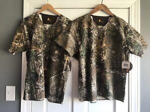 Carhartt Lot of 2 Realtree Camo Scrub Top Shirt Mens Small