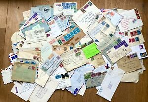 Mass lot 100+ stamped envelope covers 1900-1970s, many different countries