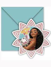 6 x Disney Moana party Invites & envelopes