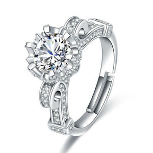 Large Aaa Cz Blingbling Engagement Rings Unique Band Jewelry Silver Plated Open