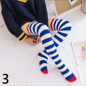 Girls Striped Coral Fleece Stockings Long Overknee Leg Warmers Thick Winter Soft