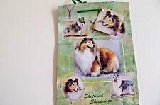 "SHETLAND SHEEPDOG [Sheltie]   Large Gift Bag w/matching Gift Tag / 11"" x  9"" X 4"