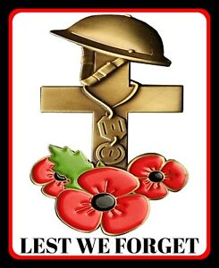 """10"""" x 8"""" REMEMBRANCE DAY LEST WE FORGET POPPY POPPIES METAL PLAQUE WALL SIGN R79"""