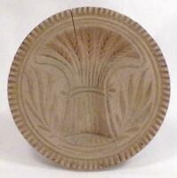 Antique Butter Mold Stamp Wooden Wheat Sheaf Carved Folk Art Wood Country 4 AsIs