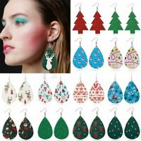 Charm Christmas Tree Elk Snowflake Earrings Leather Ear Hook Drop Dangle Women