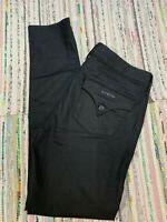 HUDSON Women 32 X 31.5 Sz 14 Pocket Flap Black Coated Stretch Jegging Jeans PES