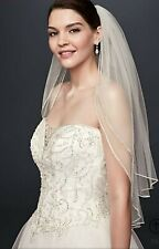 Pre-owned Two Tier Sparkling Rhinestone Edged Mid Veil