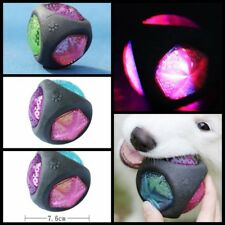 High Quality Safe Rubber Chew Sound Glow Elastic Ball Toy For Pet Dogs Puppies Q