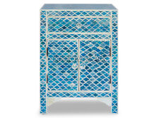 Indian Handmade Bone Inlay Marrakech Bedside Cabinet in Ocean Blue