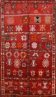 Vintage Vegetable Dye Authentic Moroccan Area Rug Hand-knotted Tribal 5x8 Carpet