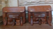 Motorcycle Saddlebags Side Pouch 30cm Brown Real Leather Pouch Panniers 1pair