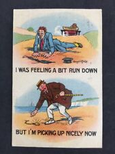 Vintage PC: Comic Artist Signed Donald McGill #A406: A Bit Run Down: posted 1915