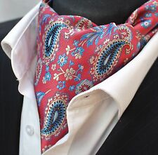 Cravat Ascot Red Blue & Gold Paisley Cravat with matching hanky.