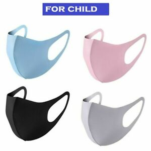 3 X Children Kid Face Mask Cover Mouth Protect Washable Pink Blue Grey Black