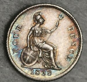 Stunning 1838 Queen Victoria Fourpence 4d Silver coin 4 Four Pence Groat Rainbow