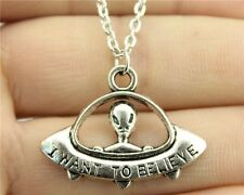 Collana I want to believe UFO pendant necklace Vintage Hipster Extraterrestre