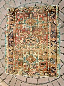 Antique Small Persian Herizz Rug Shabby Chic worn for Cabin or rustic decor