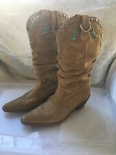"""Steve Madden """"Shyann� Tan Brown Suede Ladies Boots Turquoise Cowboy Western 10"""
