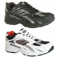 Mens New Black White Lace Up Leisure / Light Sport Trainers Free Uk Postage
