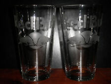 2 Hand Etched Red Bull Energy Drink 16oz Glasses